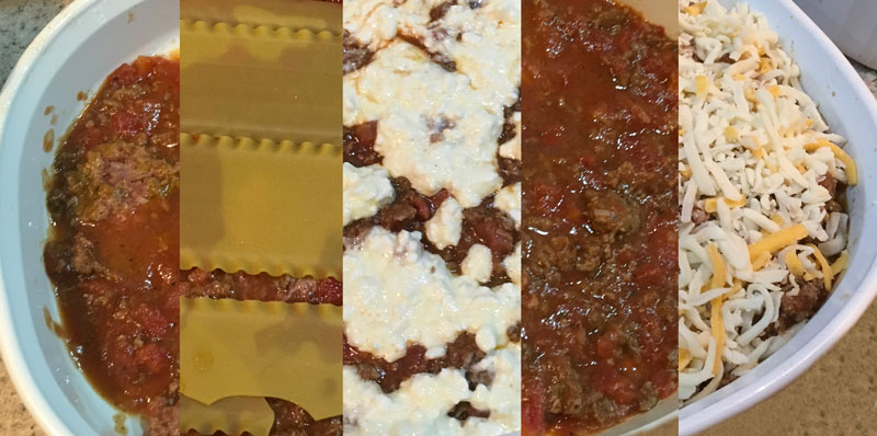 Layer your lasagna - additional water on the bottom layer only!