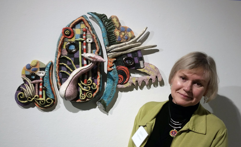 """Flight""  ceramic wall sculpture, with the artist Susan Feigenbaum; Four Jerome Artists Opening Reception at Northern Clay Center, January 12, 2018."