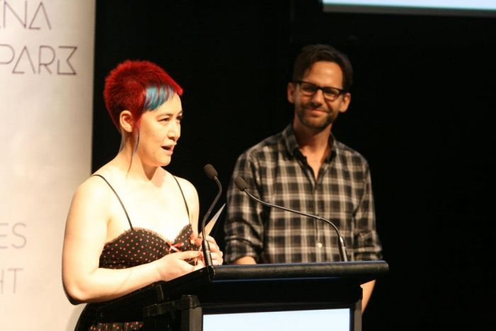 Sally accepts her ARIA in 2011. Image via  Limelight Magazine