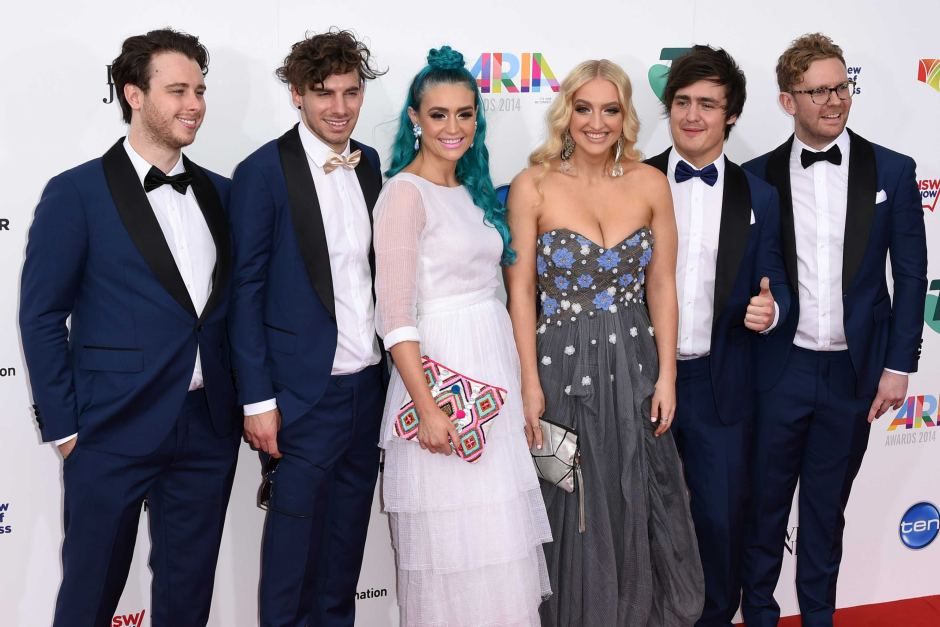 Sheppard at the 2014 ARIA Awards, the year they won Best Group. Image via  ABC
