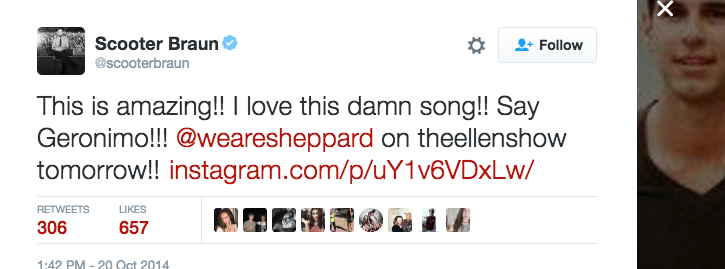 Scooter Braun  tweets  about Sheppard