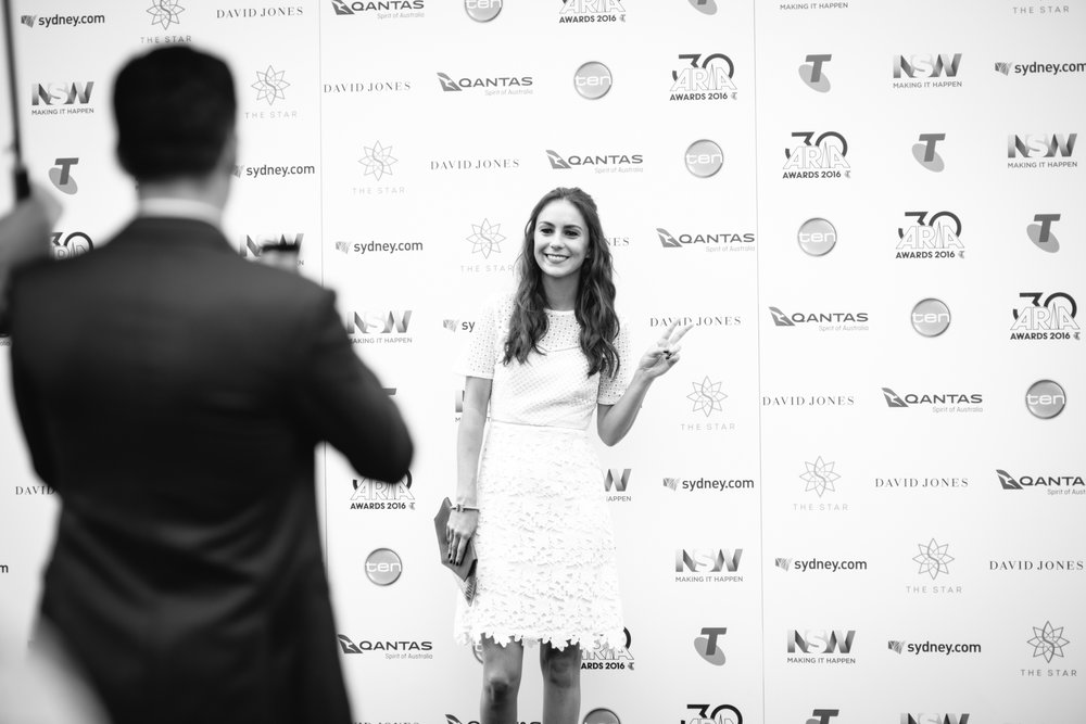 Amy Shark at the 2016  ARIAs . Photo by Alex Carlyle for Music Love Australia