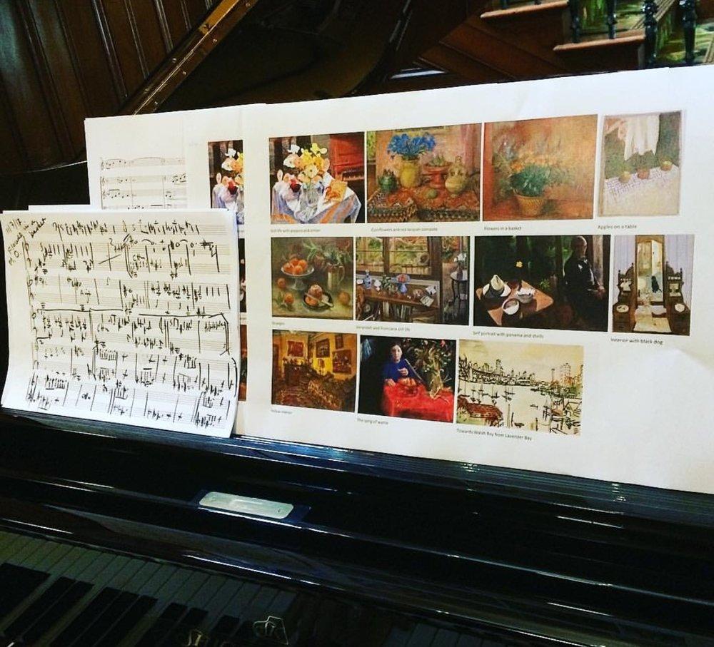 Elena Kats-Chernin, notation and artworks. Image via Instagram/QUTArtmuseum