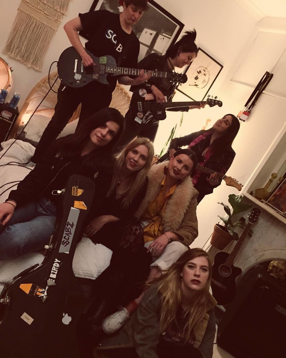 Izzy Hilton,SCABZ,Siobhan Poynton,Jaimee Taylor-Nielsen,Mikaela Stafford,Shalisa Lillian Marie,Ellie Horan,The Nah and Pixie Punto Pistola getting ready for this weekend's awesomeness. Image via Facebook/CovenPresents