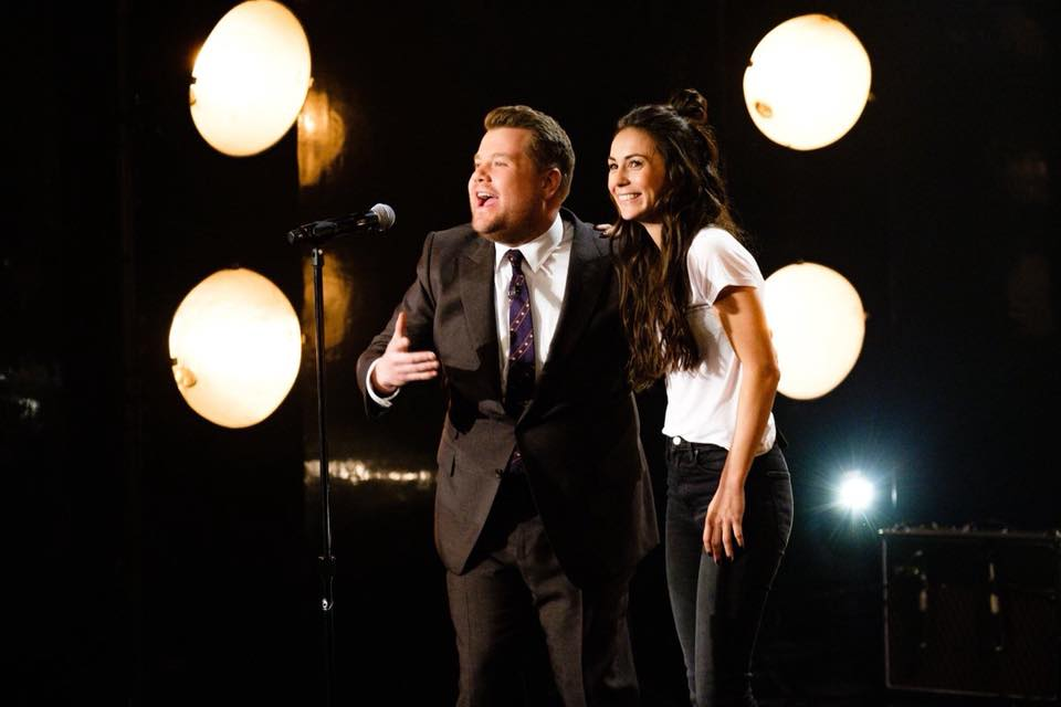 James Corden with Amy Shark. Image Facebook/AmySharkMusic