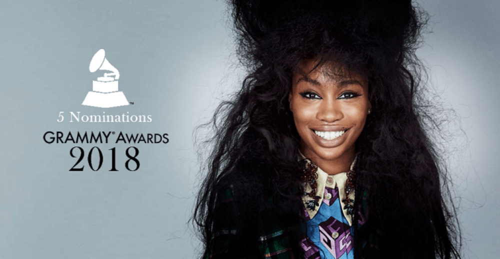 SZA is up for five awards making her the highest nominated female artist at the 2018 GRAMMY Awards