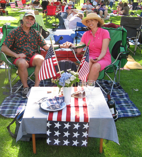 Veteran Tanglewood goers Rick Tillotson and Robin Grigg Tillotson have their picnic strategy down to a science.