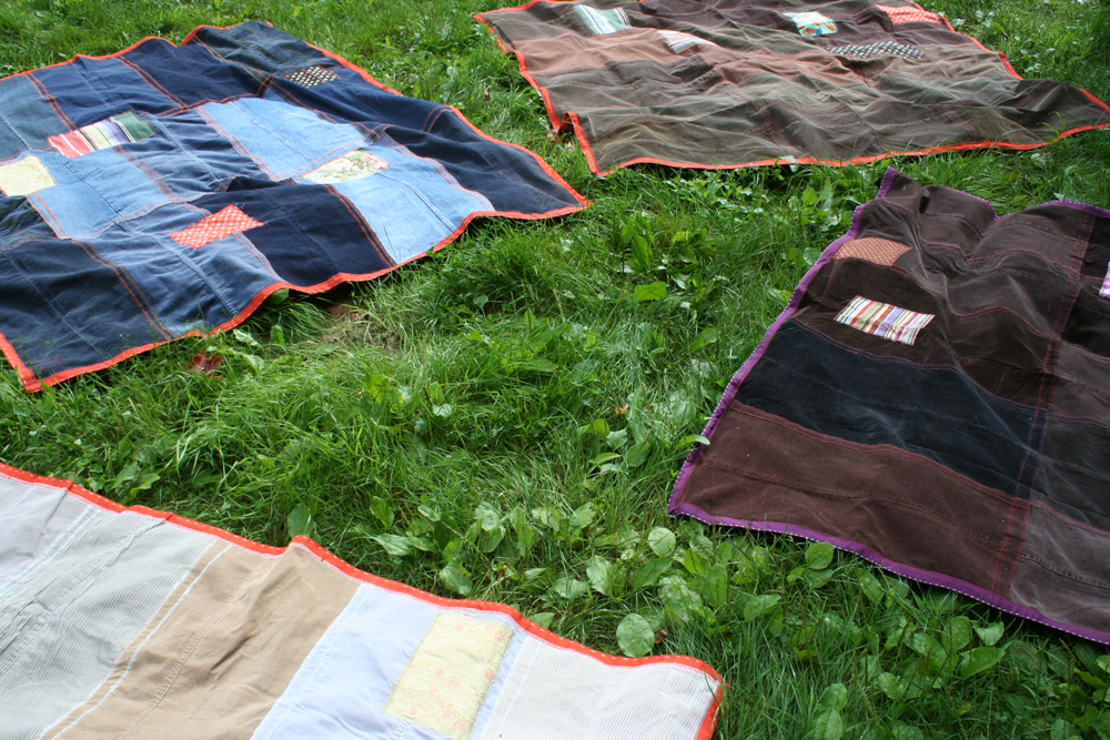 Recycled Denim and Corduroy Picnic Blankets available in my Shop