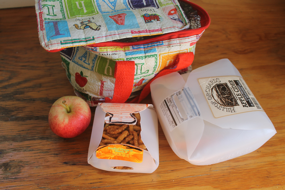 Gallon sized jugs work perfectly for sandwiches while half gallon size make great snack boxes.