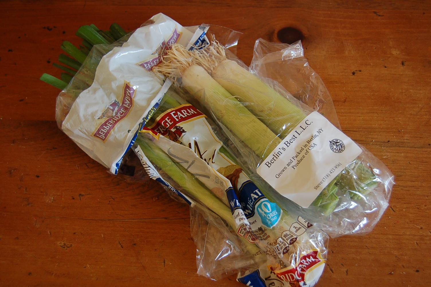 Leeks in bags