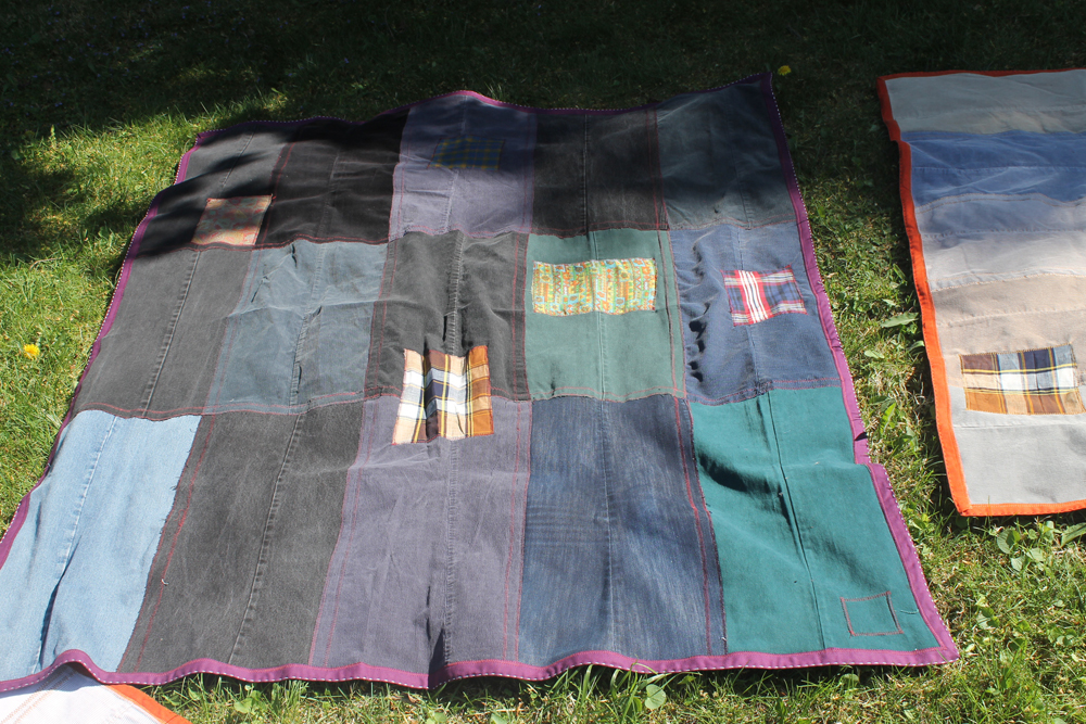 used clothing alchemy picnic blanket by crispina ffrench made from recycled corduroys