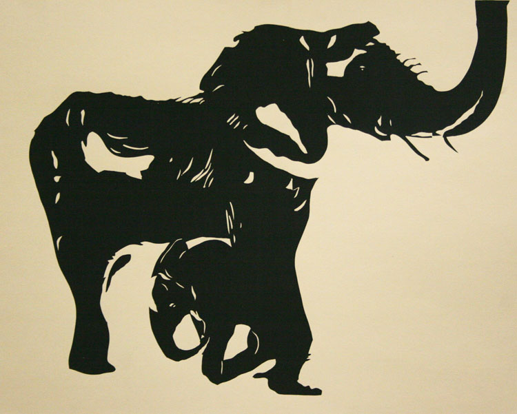 elephants - screenprint - Kristen Parker 2015