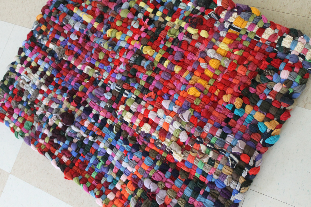 Multi Colored 2.5x3.5ft Potholder Rug folded in half