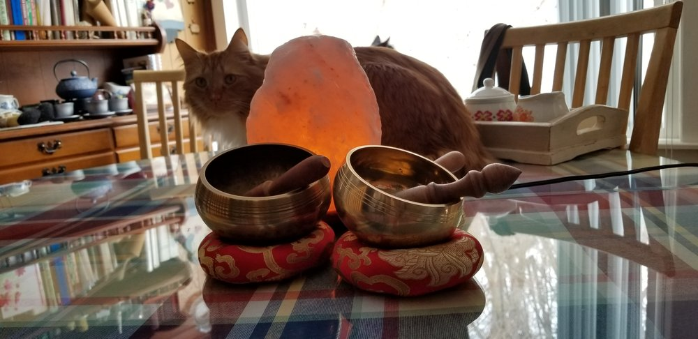 Photo Credit: Donna Motta... Song Bowls, Salt Lamps, and My Writing Buddy