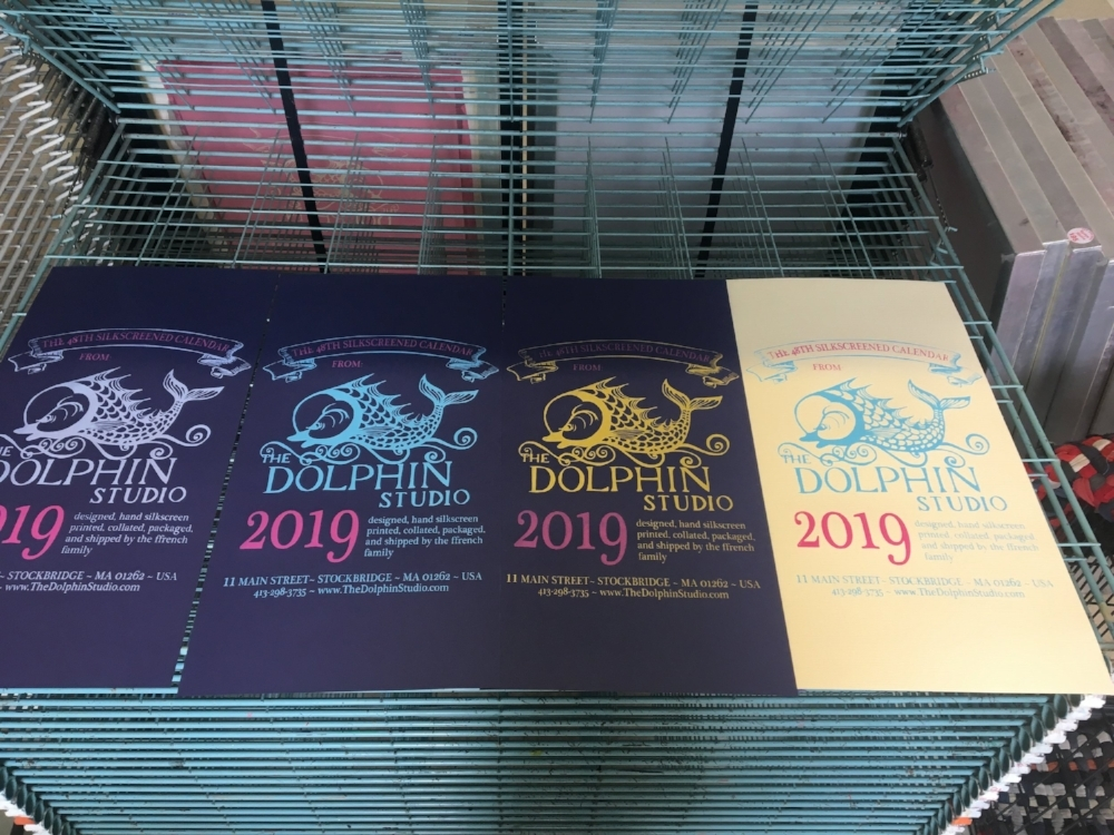 color samples for the cover of the 2019 Dolphin Studio Calendar