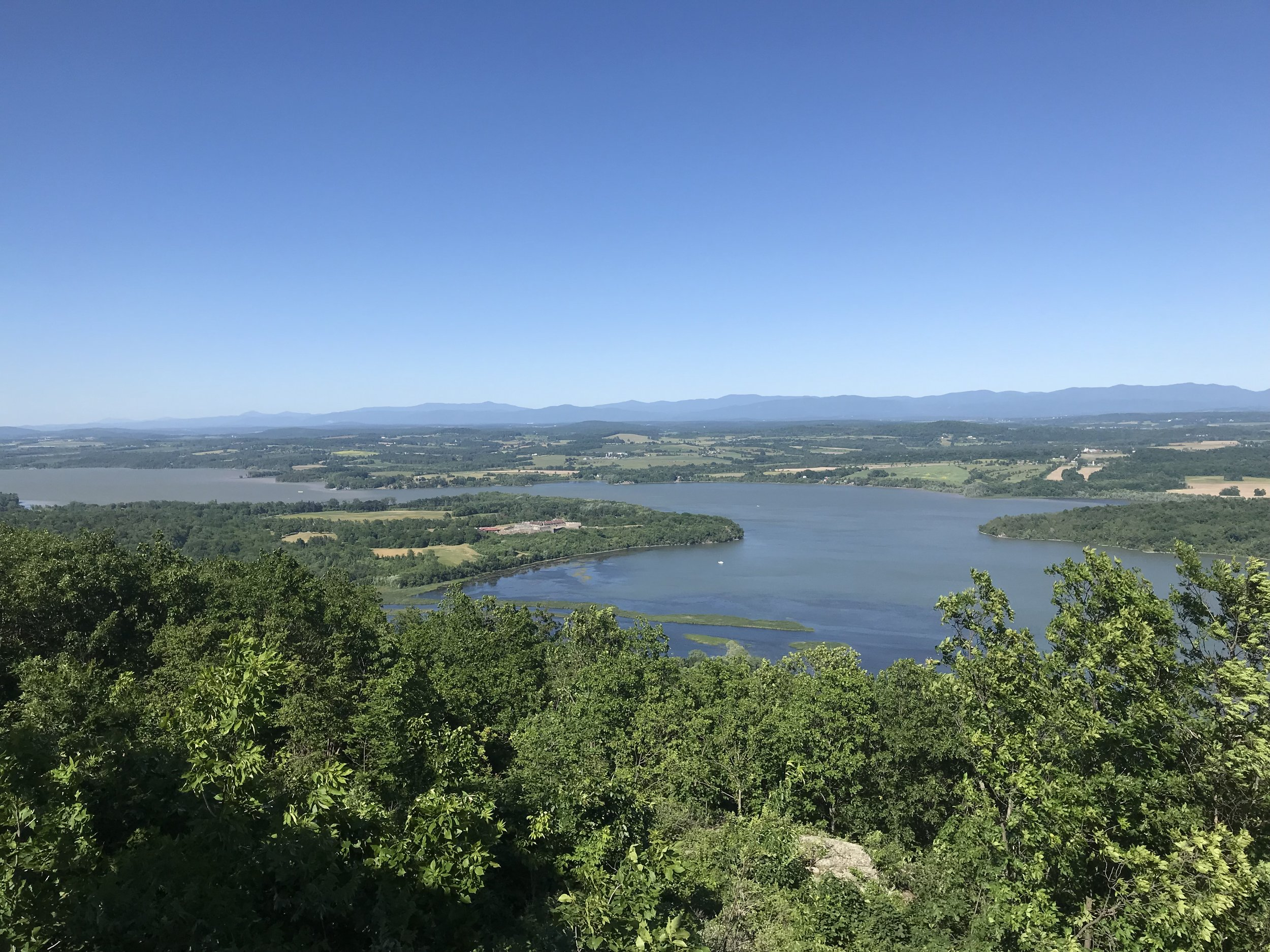 Here is the panorama from Mt. Defiance. Ft. Ticonderoga is on the left, with the fort structure clearly visible. The peninsula jutting out on the right is Mt. Independence where most of the rebel troops were headquartered. It will forever be a mystery why General St. Clair did not think it necessary to fortify this hill.