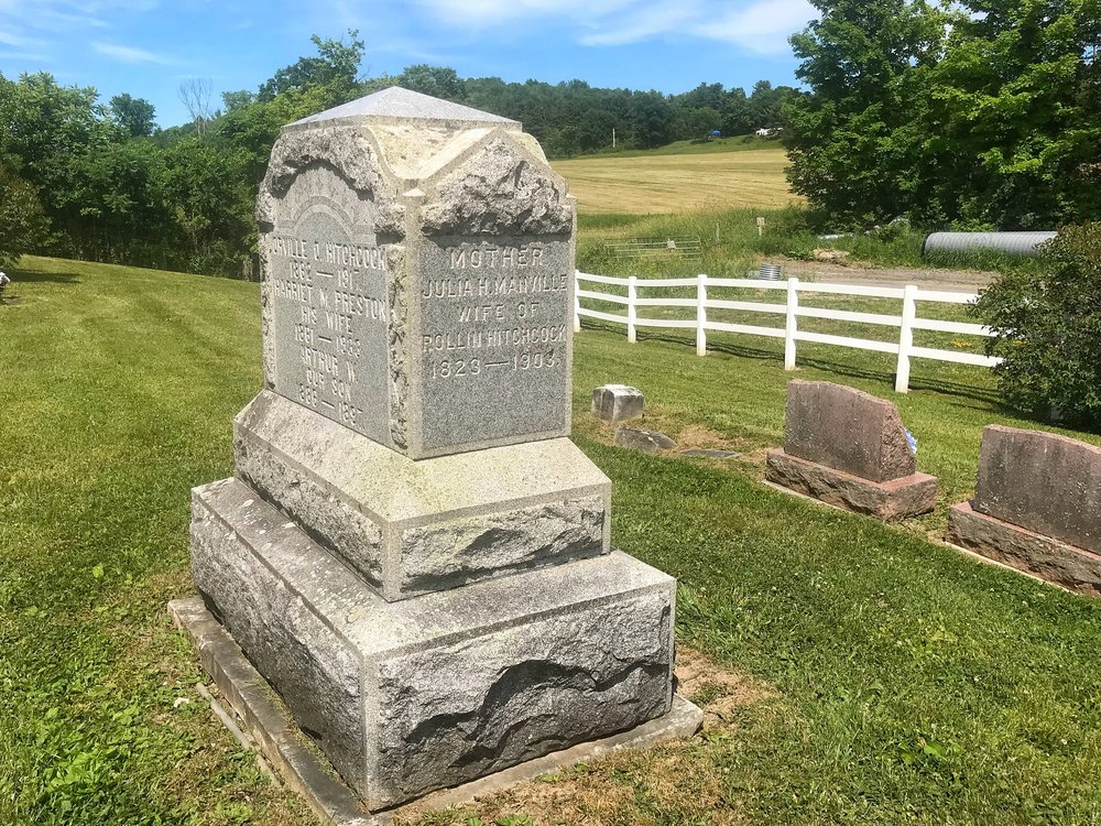 This pretty cemetery in West Fair Haven, Vermont is hidden ignominiously behind the town garage. Many of graves were lichen-encrusted and hard-to-read, but not the main Hitchcock marker.