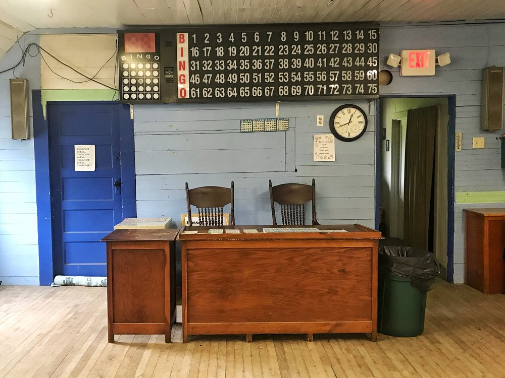 Inside the Gassetts, Vermont grange hall where you can play bingo every Thursday night.