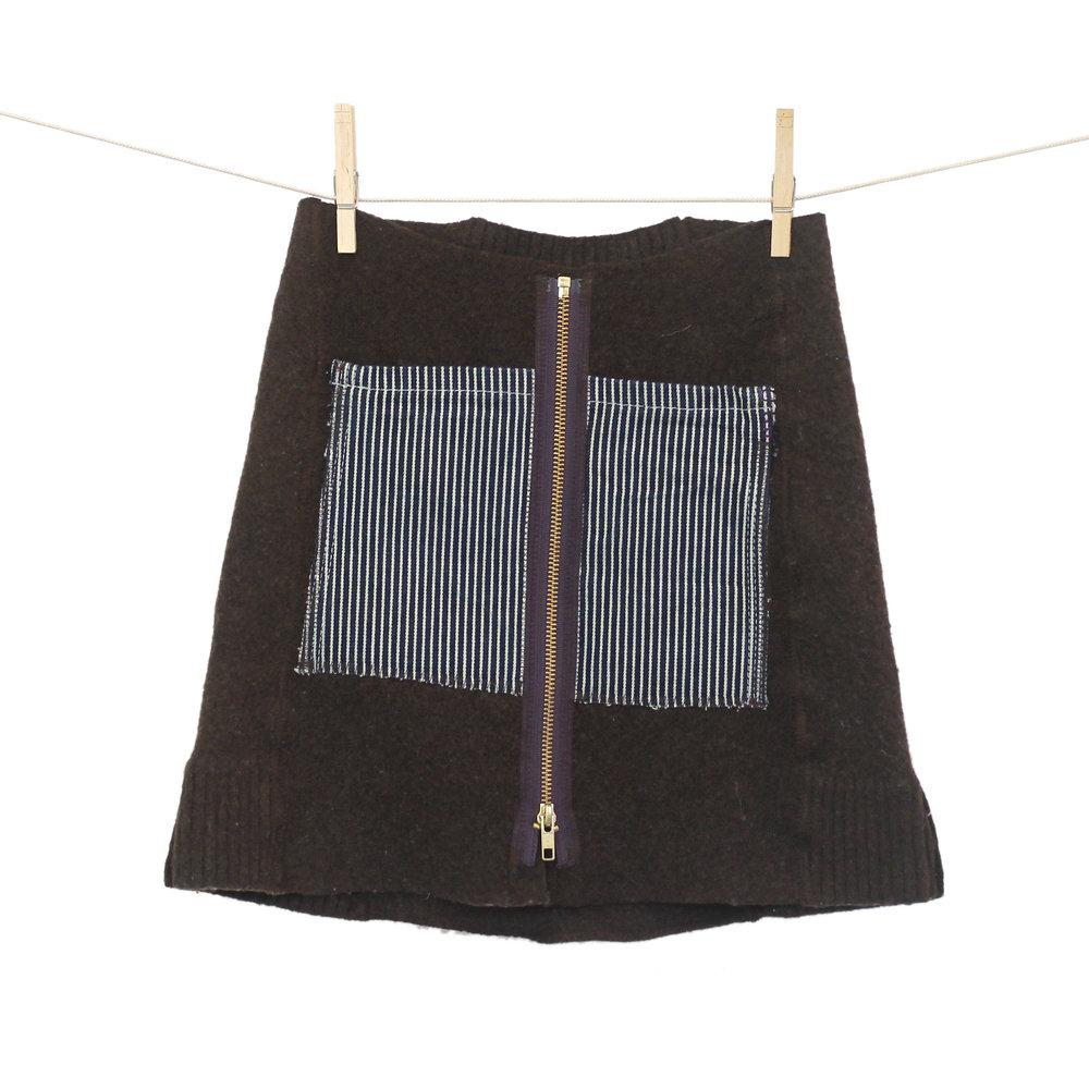 56d423b834 Kilt Skirt - Brown with Striped Pockets — CRISPINA