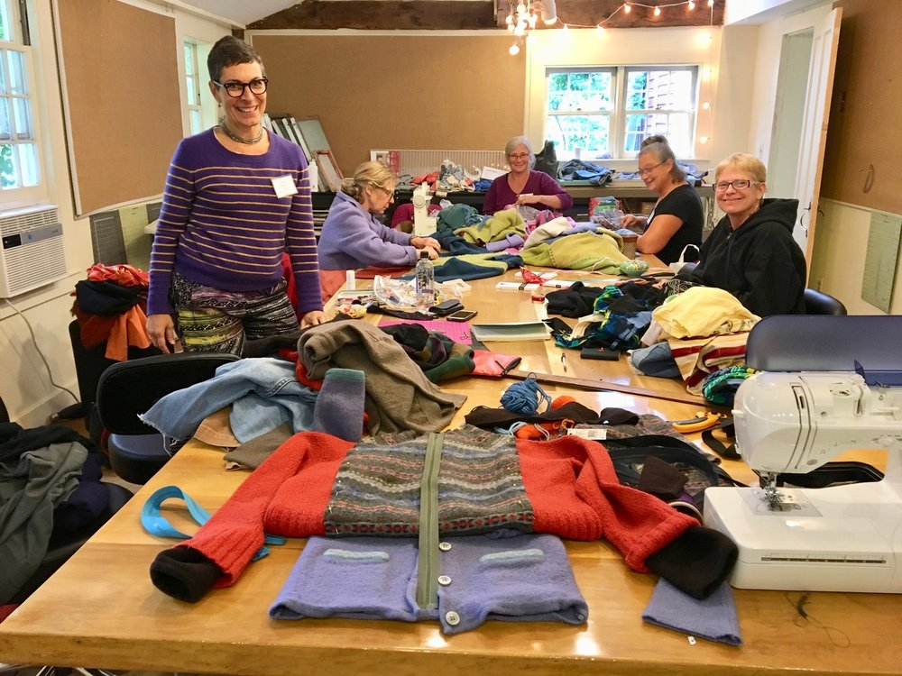 Lovely group of makers at a Sweater Chop Shop workshop at Snow Farm: The New England Craft Program in Williamsburg, MA.
