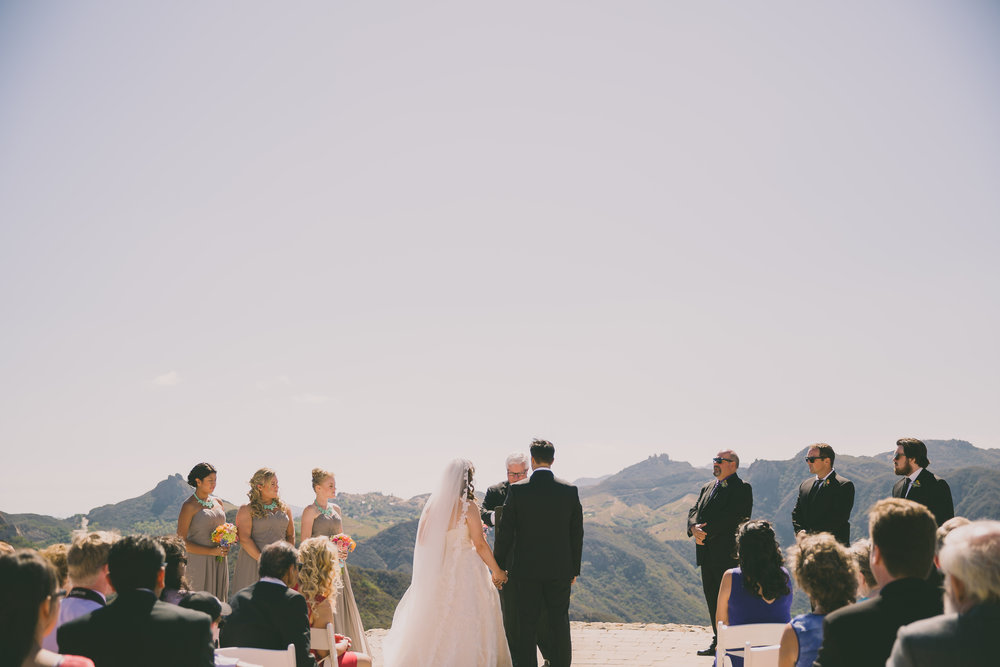 With a breathless view like this, decor isn't even necessary, and this space tends to be windy as well. Photo by Dave Richards. Venue: Malibu Rocky Oaks