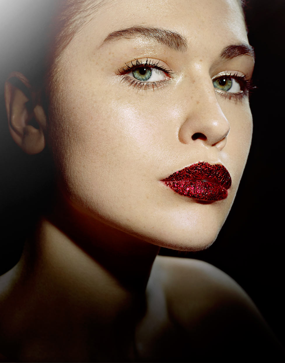 Mark DeLong - Beauty Photographer - Portrait of woman with deep red glitter lipstick and green eyes