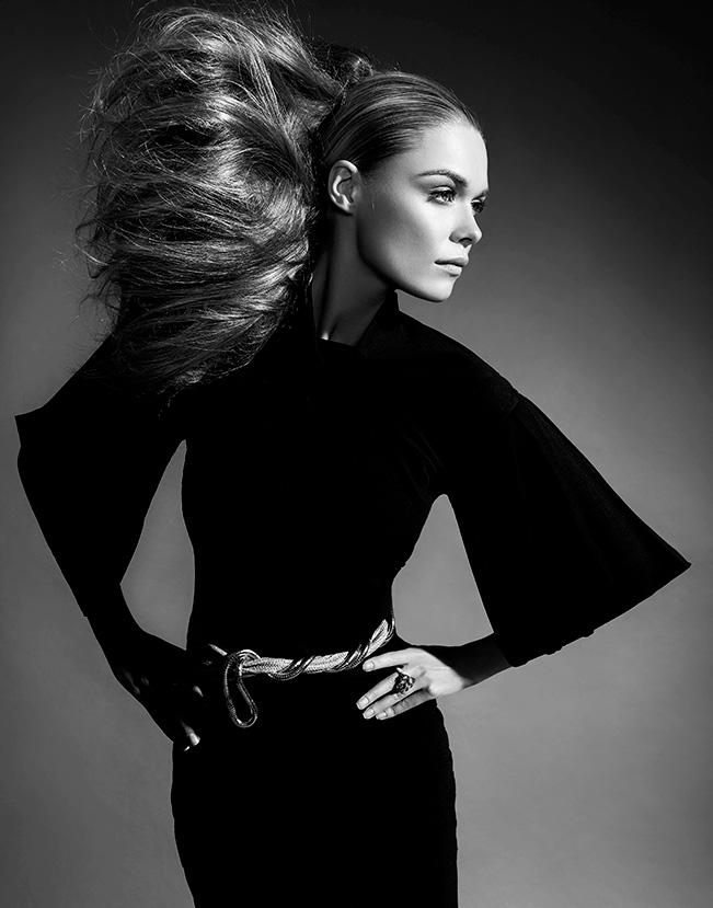 black and white portrait of woman wearing a black one piece outfit looking to the side - Mark DeLong: Fashion Gallery