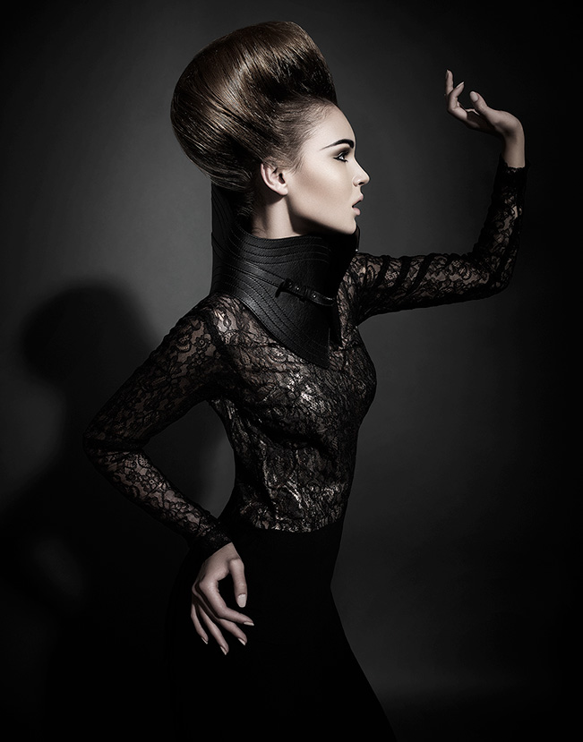 Brunette woman posing and looking to the side wearing black lace printed design and abstract hair - Mark DeLong: Fashion Gallery