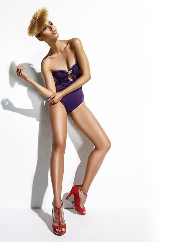 Woman wearing purple one piece bikini and red heels - Mark DeLong: Fashion Gallery