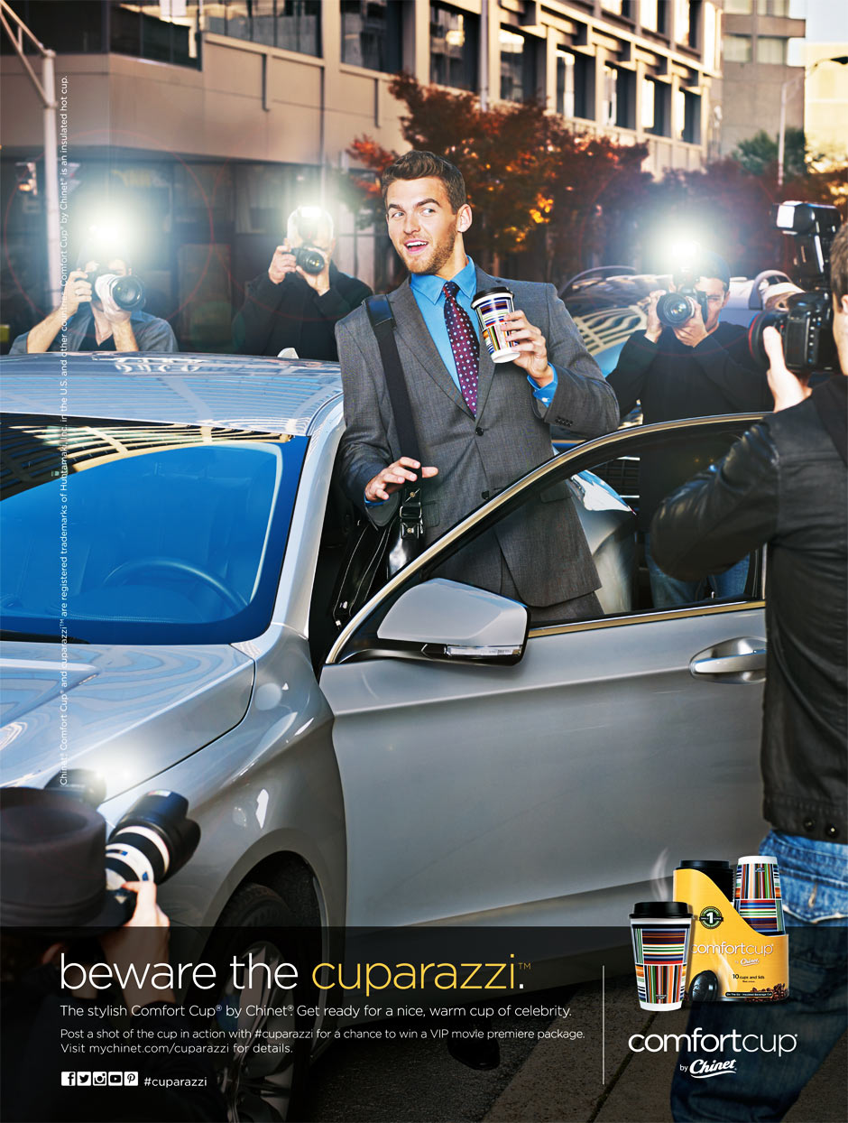 Mark DeLong - Commercial Photography - Man dealing with paparazzi get in silver car.