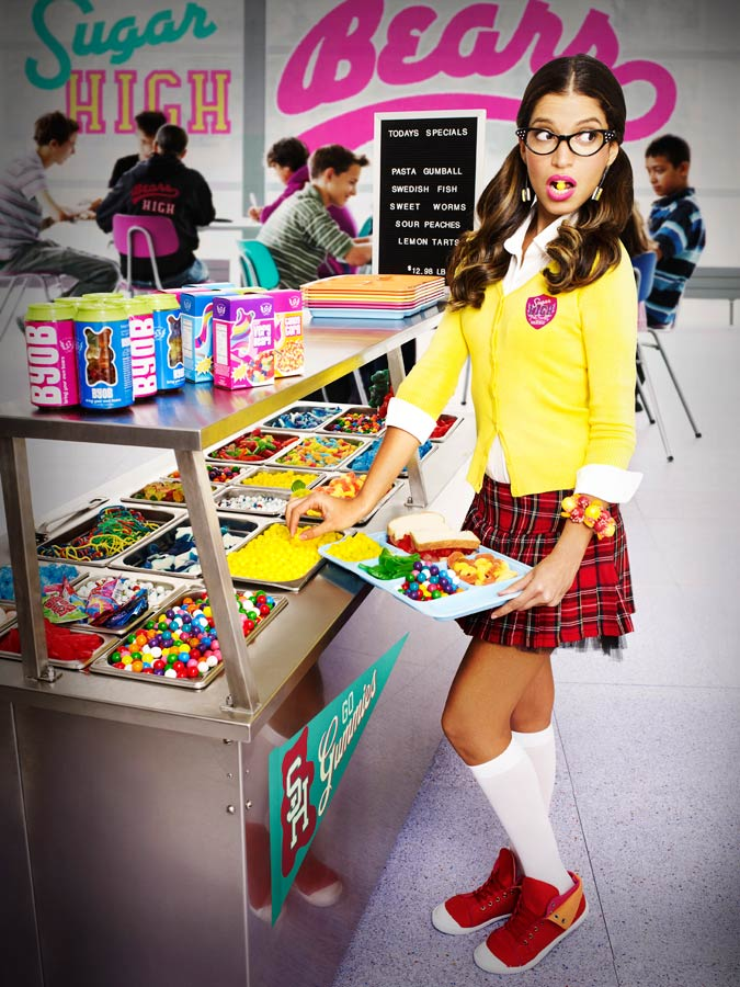 Mark DeLong - Commercial Photography - High school girl in plaid skirt going through lunch line.