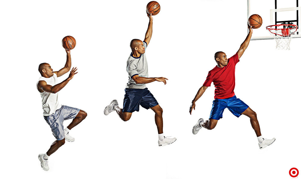 Mark DeLong - Commercial Photography - Man in three different outfits makes a slam dunk.