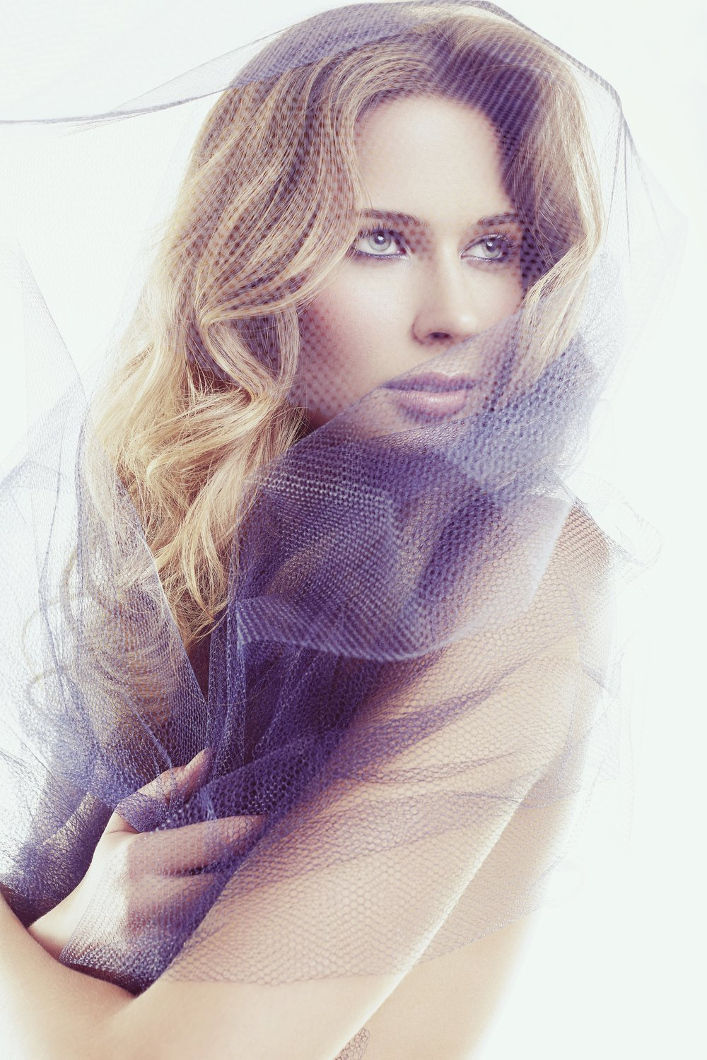Portrait of dirty blond woman with see through lace mesh scarf - Mark DeLong: Fashion Gallery
