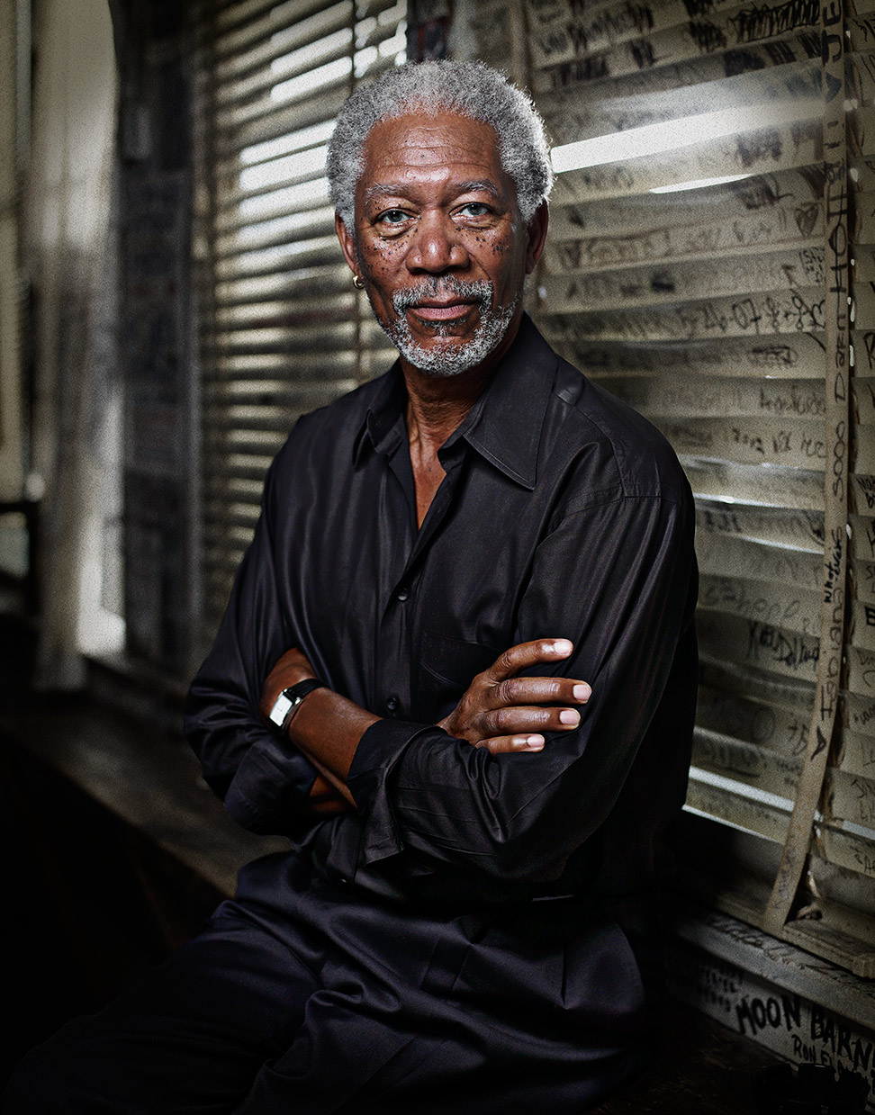 Mark DeLong - Celebrity Photographer - Morgan Freeman relaxing against a window.