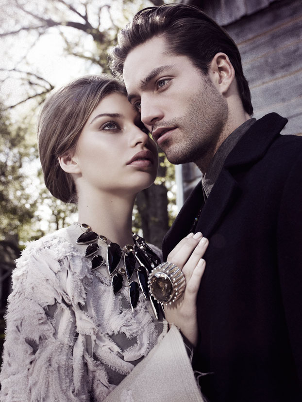 Couple portrait: woman in light gray top and man wearing black jacket - Mark DeLong: Fashion Gallery