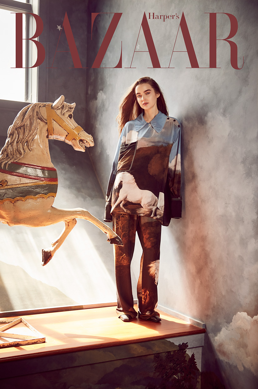 Harper's Bazaar - Girl Modeling With Elegant Horse Statue: Fashion Gallery - Mark DeLong