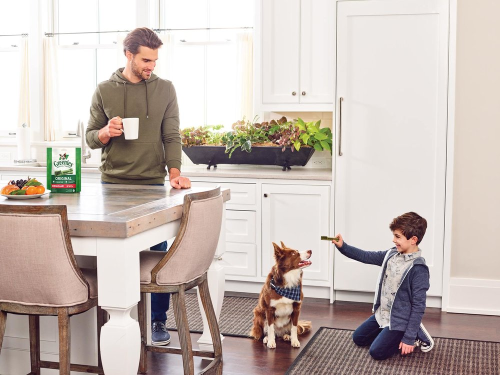 Mark DeLong - Commercial Photography - Seven year old boy playing with his brown dog on the kitchen floor while his father drinks coffee and watches.
