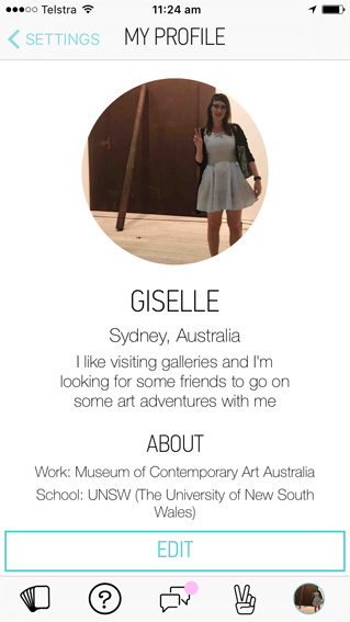 "My ""Hey! VINA"" profile, pic taken in front of ""Plate Pole Prop"" by Richard Serra, 1969/1983. Hey!VINA is networking app for women. While not technically a dating service, I include Hey!VINA to diversify the audience for Giselle Dates and expand the kinds of social engagement that the work can accommodate."