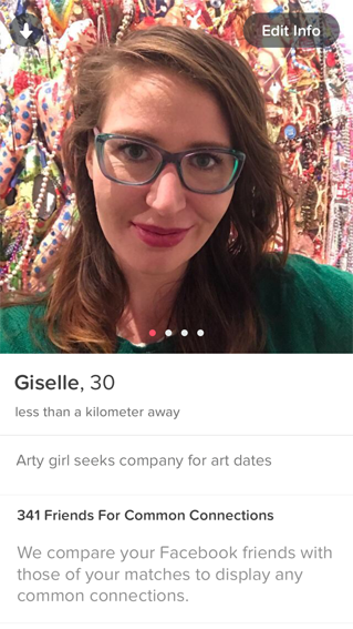 "My Tinder profile, pic taken in front of ""It's All Your Fault Mum"" by Paul Yore, 2016. Tinder possesses the largest pool of potential matches, with   15% of Australians using the app  ."