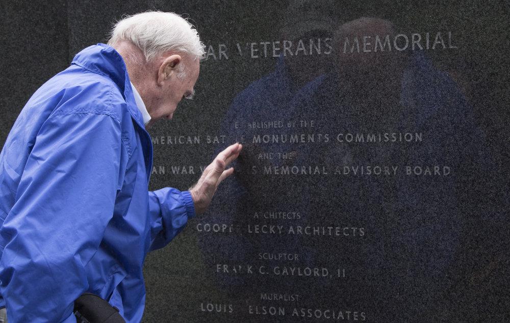 Korean War veteran Henry Padgett, Jr., of South Carolina, mourns at the Korean War Veterans Memorial in Washington, D.C., on May 11, 2016.