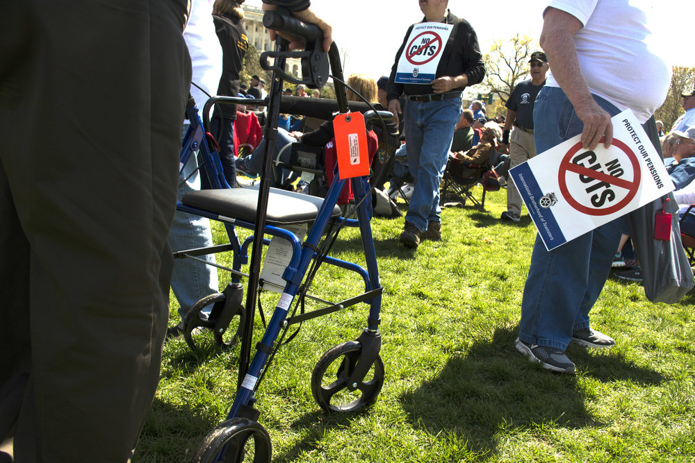 Many of the retired Teamsters and spouses who rallied in front of the Capitol in Washingotn, D.C., on April 14, 2016,came with walkers – and medical ailments. They protested against possible cut of their pension.