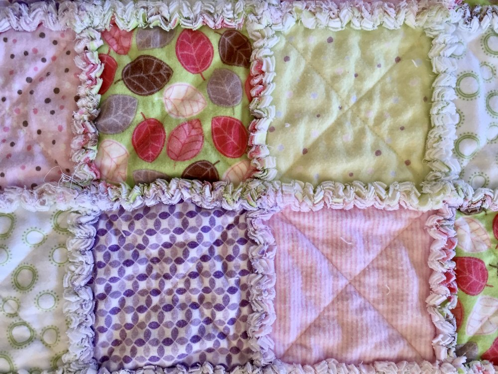 """Super soft printed """"cuddle"""" flannel was used on front and back. Next one I'm going to try white flannel on the back (less expensive).Stack squares with wrong sides together and with batting in the center,sew across, corner to corner to form an X pattern."""