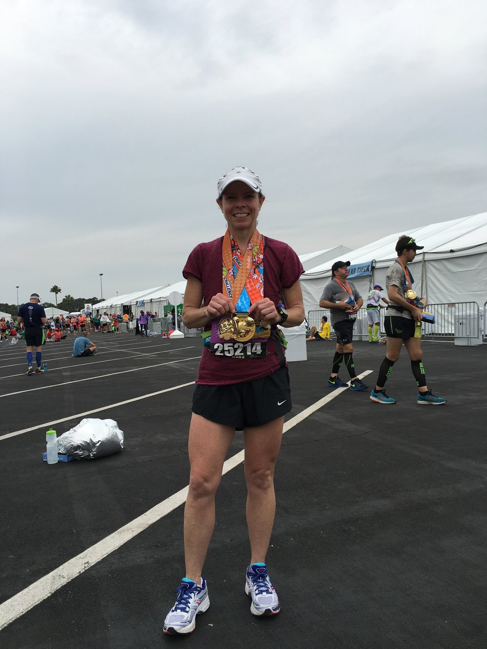 Kara, 47, at the finish of the 2016 Dopey Challenge
