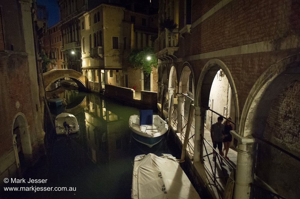(Photo Mark Jesser) Venice, Italy. - Venice streets at night.