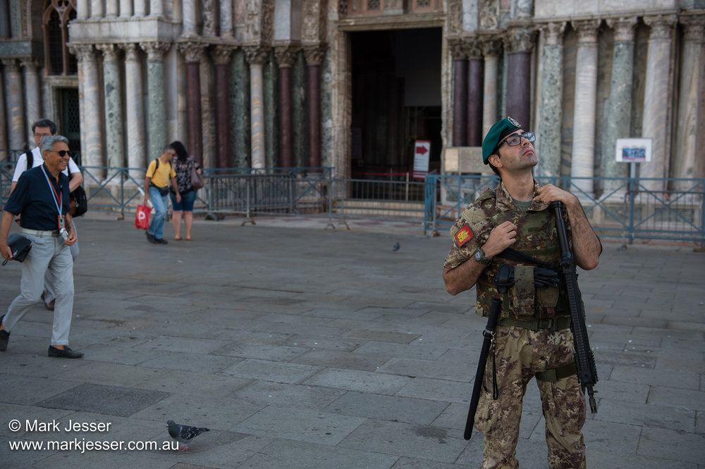 (Photo Mark Jesser) Venice, Italy. - Police and Army on Patrol. They didn't like their picture being taken.