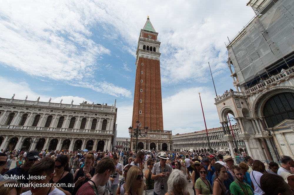(Photo Mark Jesser) Venice, Italy. - San Marco Campanile. Busy at midday.