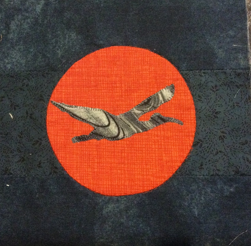 Ibis with a bushfire moon