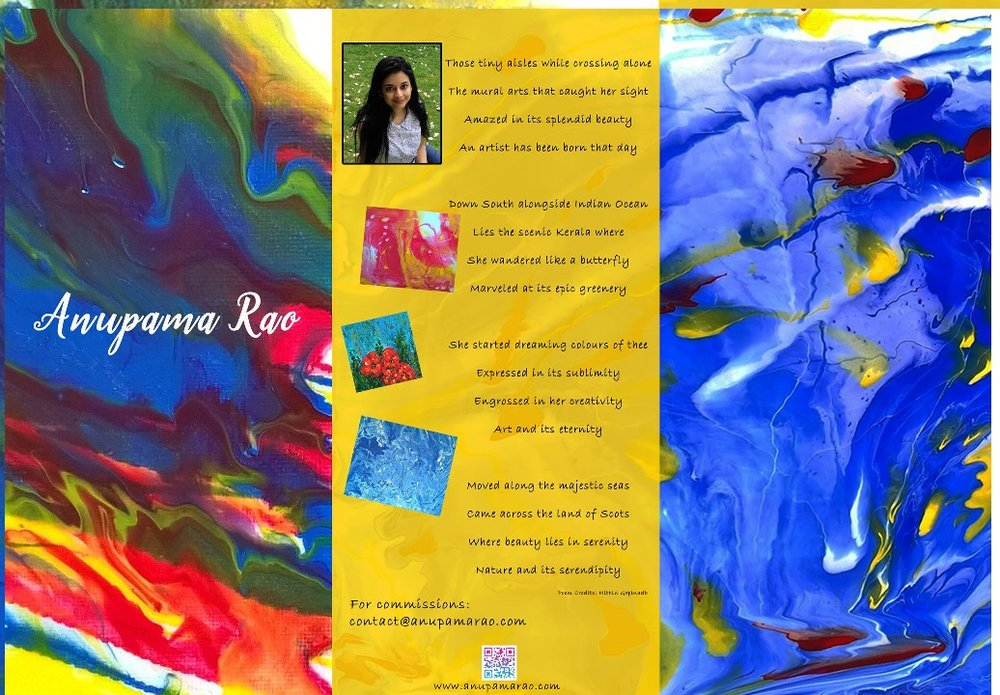 Anupama Rao - Anupama Rao is a wonderfully talented artist and seamstress from Kerala, India who has recently moved to the UK. Her paintings are vibrant with colour and movement. She expresses herself through her art and through textiles. Currently she is exhibiting at Art and Craft collective in Edinburgh  https://www.artcraftcollective.co.uk/artists/Have a look at her page: https://www.facebook.com/anupamaraos/and her website www.anupamarao.com