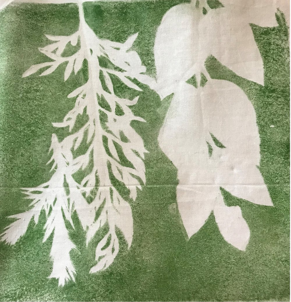 - Paint transferred from the gel plate. Leaves are on the gel plate so no paint is transferred from under the leaves.