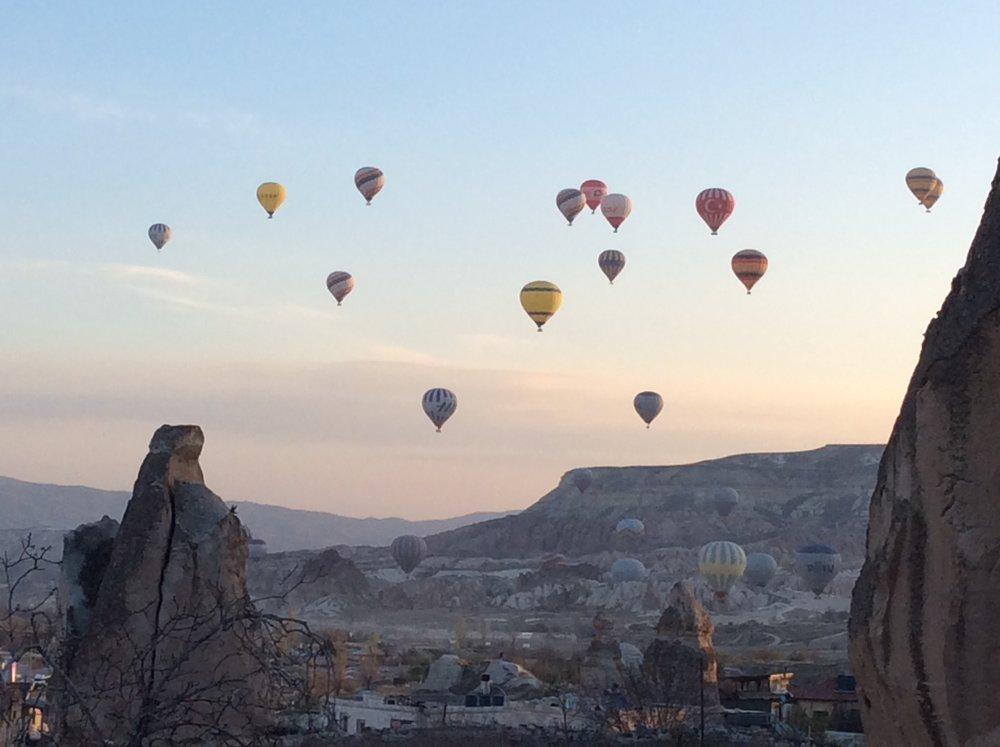 balloons at dawn over Goreme, Cappadocia
